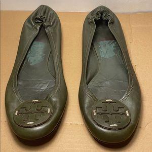 Tory Burch 10 1/2 Green Leather Ballet Flats